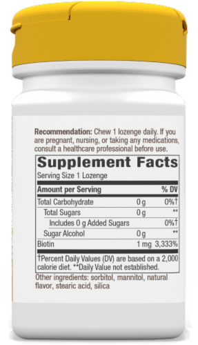 Nature's Way Biotin 1000 mcg Once Daily Energy Release Lozenges Perspective: right