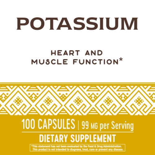 Nature's Way Potassium Dietary Supplement Capsules 99mg Perspective: right
