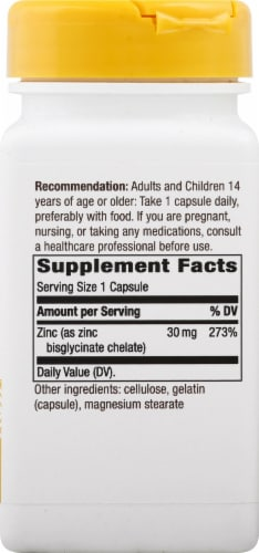 Nature's Way Zinc Chelate Dietary Supplement Capsules 30mg Perspective: right