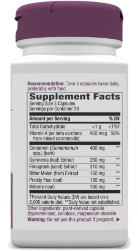 Nature's Way Blood Sugar with Gymnema Capsules Perspective: right