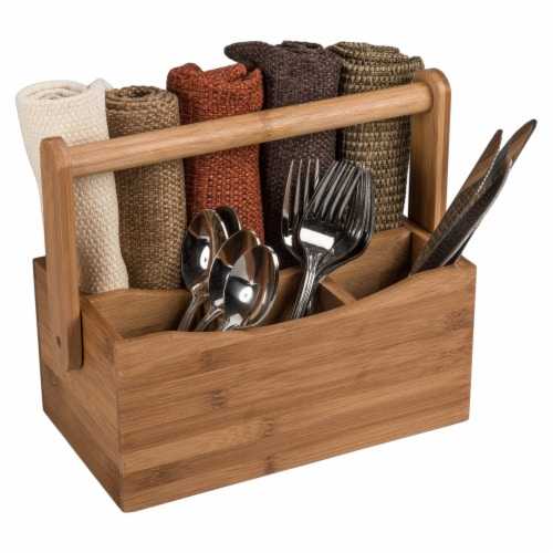 Natural Living Bamboo 4-section Flatware Caddy with Handle Perspective: right