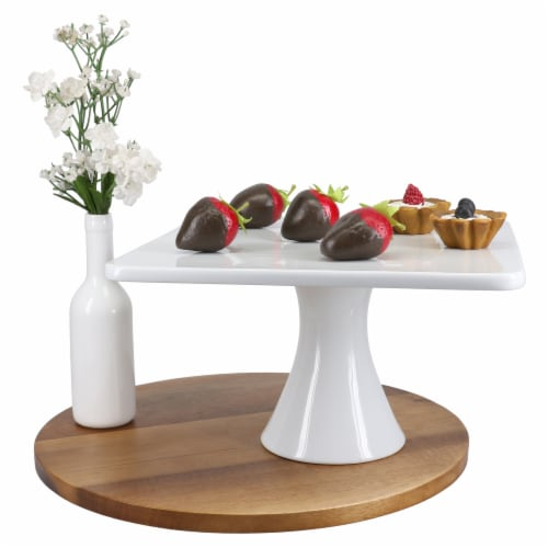 BIA Cordon Bleu Square Porcelain Pedestal Cake Stand Perspective: right