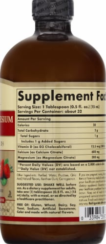 Solgar Natural Strawberry Flavor Calcium Magnesium Citrate with Vitamin D3 Liquid Perspective: right