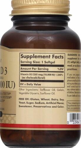 Solgar Vitamin D3 10000 IU Dietary Supplement Softgels Perspective: right