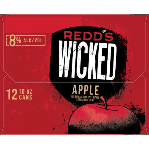 Redd's Wicked Apple Golden Ale Beer 12 Cans Perspective: right