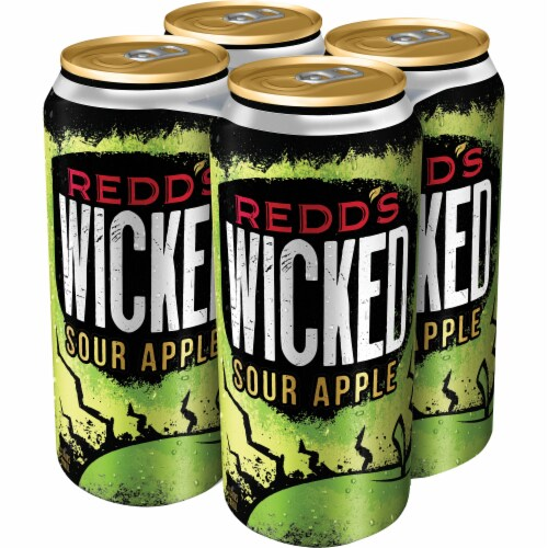 Redd's Wicked Sour Apple Golden Ale Beer 4 Cans Perspective: right