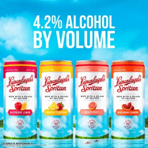 Leinenkugel's Spritzen Raspberry Lemon Pineapple Strawberry and Grapefruit Beer Variety Pack Perspective: right