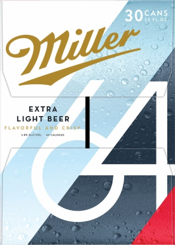 Miller64 Extra Light Lager Beer 30 Cans Perspective: right