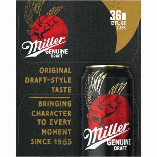 Miller Genuine Draft American Lager Beer 36 Cans Perspective: right
