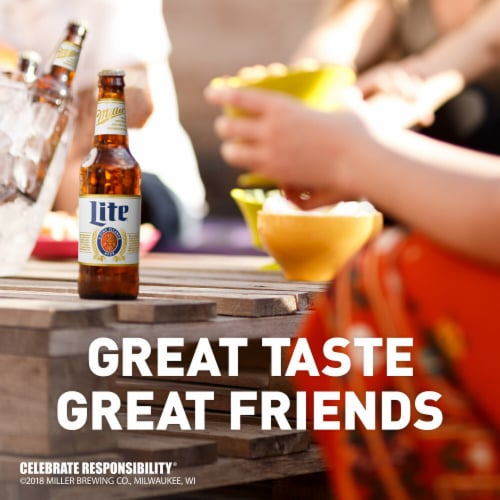 Miller Lite American Lager Beer 6 Bottles Perspective: right