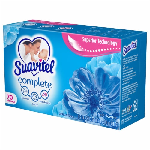 Suavitel Complete Field Flowers Fabric Softener Dryer Sheets Perspective: right