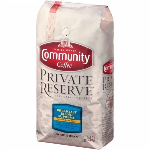 Community Coffee Private Reserve Breakfast Blend Supreme Medium-Dark Roast Whole Bean Coffee Perspective: right