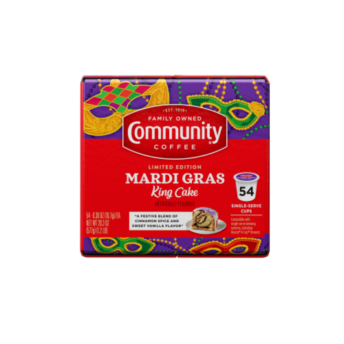 Community Coffee Mardi Gras King Cake Single-Serve Cups Perspective: right
