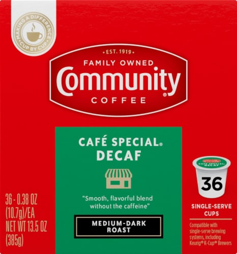 Community Coffee Cafe Special Decaf Medium-Dark Roast Coffee Single-Serve Cups Perspective: right