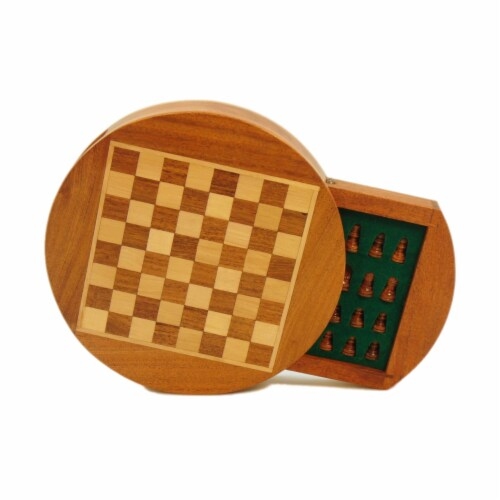 Wordlwise Magnetic Round Wood Inlaid Chess Set Perspective: right