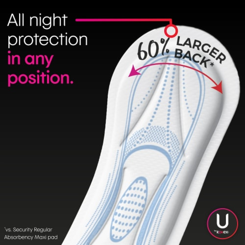 U by Kotex Security Overnight Unscented Maxi Pads with Wings Perspective: right