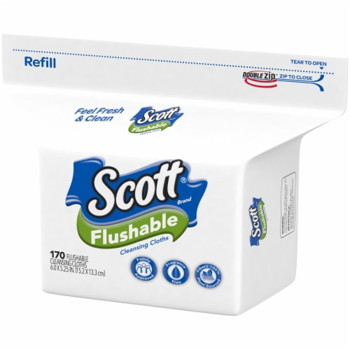Scott Flushable Wipes 170 Count Perspective: right