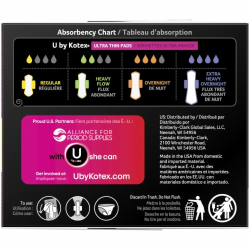U by Kotex CleanWear Regular Unscented Ultra Thin Pads with Wings Perspective: right