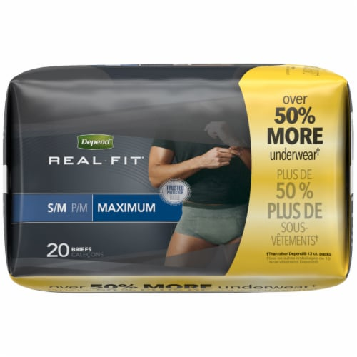 Depend Real Fit Maximum Absorbency Incontinence Underwear For Men S/M Perspective: right