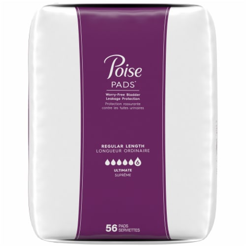 Poise Regular Length Ultimate Absorbency Pads 112 Count Perspective: right