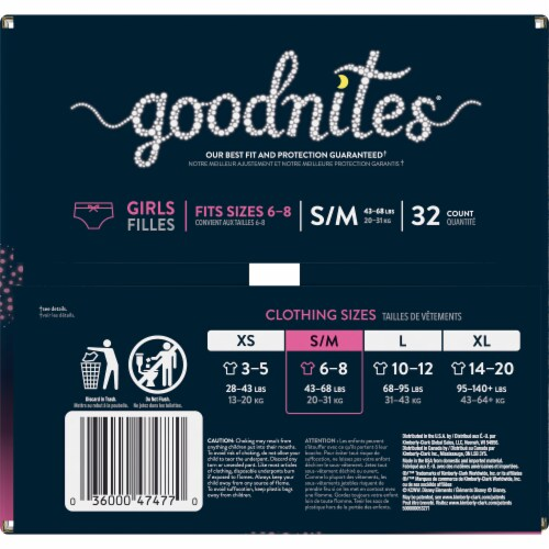 Goodnites Small / Medium Girls Bedwetting Underwear Perspective: right
