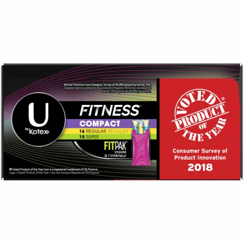 U by Kotex Fitness Regular & Super Compact Tampons Multi Pack 31 Count Perspective: right