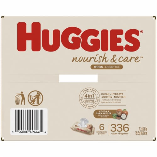 Huggies Nourish & Care Cocoa & Shea Butter 4-in-1 Sensitive Skin Baby Wipes Perspective: right