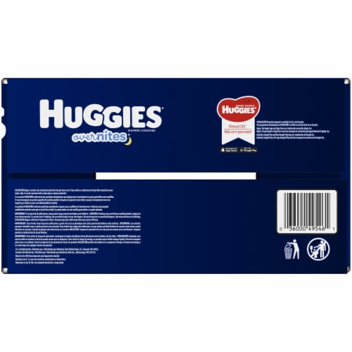 Huggies Overnites Size 3 Baby Diapers 80 Count Perspective: right
