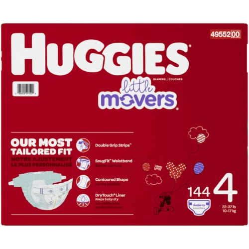 Huggies Little Movers Size 4 Diapers 144 Count Perspective: right
