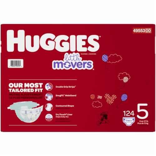 Huggies Little Movers Size 5 Diapers 124 Count Perspective: right