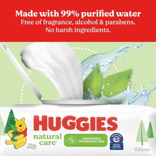 Huggies Natural Care Sensitive Fragrance Free Baby Wipes Refill Packs Perspective: right