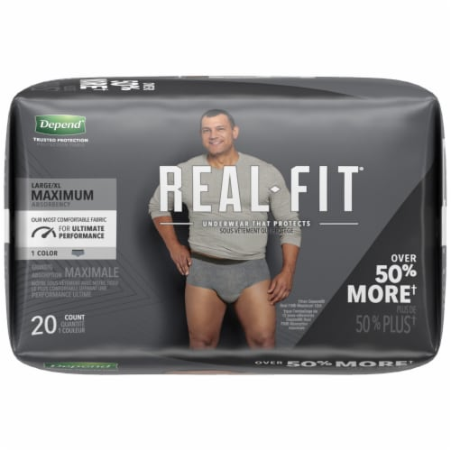 Depend Real Fit Maximum Absorbency Large/Extra Large Incontinence Underwear for Men Perspective: right