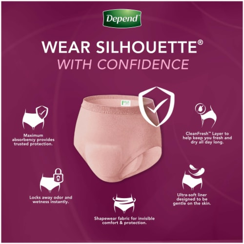 Depend Silhouette Incontinence Underwear for Women Maximum Absorbency Size Medium Perspective: right