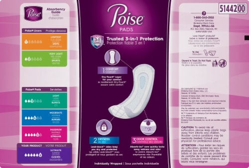 Poise Long Ultimate Absorbency Incontinence Pads Perspective: right