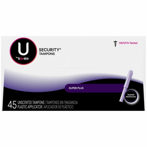 U by Kotex Security Super Plus Tampons 45 Count Perspective: right