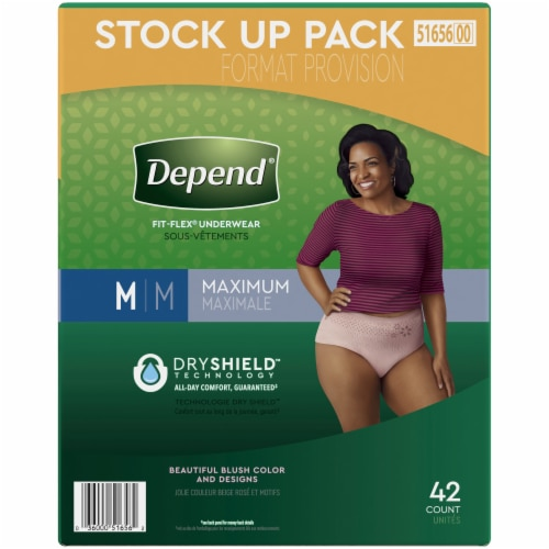 Depend Fit-Flex Maximum Absorbency Medium Women's Incontinence Underwear Perspective: right