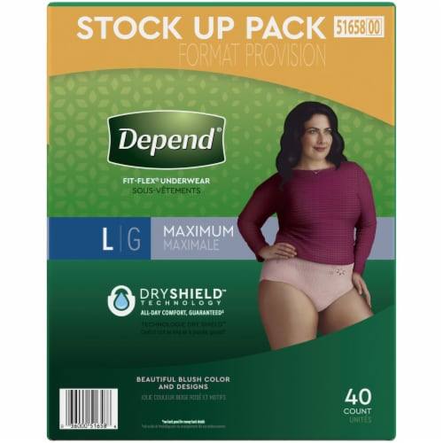 Depend Fit-Flex Maximum Absorbency Large Women's Incontinence Underwear Perspective: right