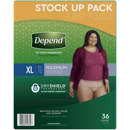 Depend Fit-Flex Maximum Absorbency X-Large Women's Incontinence Underwear Perspective: right