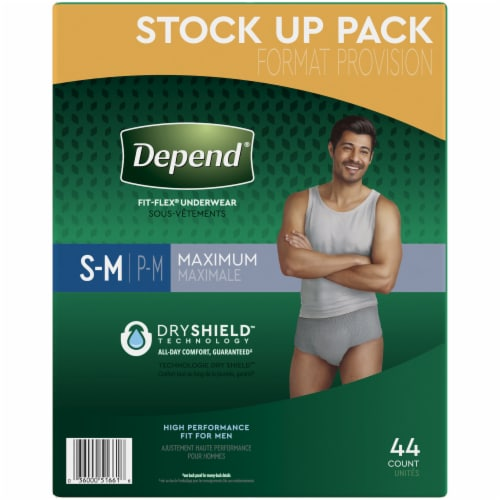 Depend Fit-Flex Maximum Absorbency Small/Medium Men's Incontinence Underwear Perspective: right