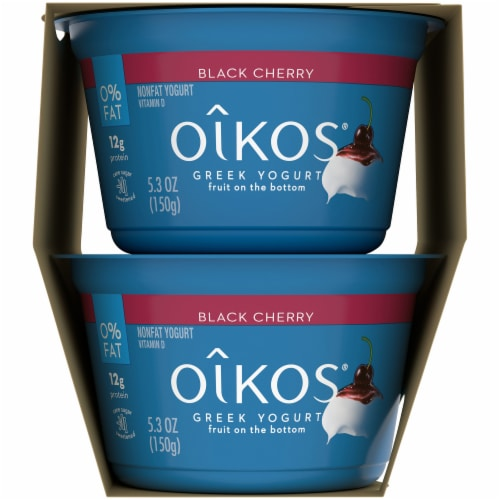 Oikos Fruit on the Bottom Black Cherry Nonfat Greek Yogurt Perspective: right