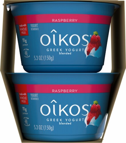 Oikos Irresistible Raspberry Mousse Blended Greek Yogurt Perspective: right