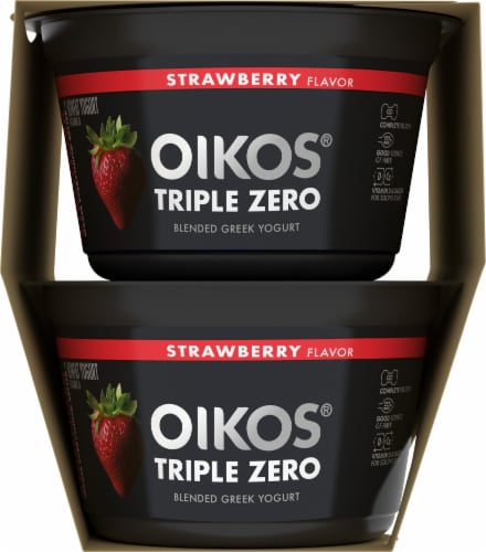 Dannon Oikos Triple Zero Strawberry Blended Greek Yogurt Perspective: right