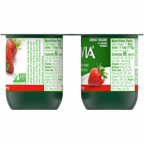 Activia Strawberry Lowfat Probiotic Yogurt (4 Pack) Perspective: right