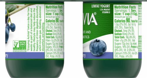 Activia Lowfat Blueberry Probiotic Yogurt Perspective: right