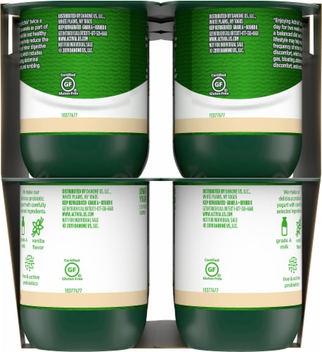 Dannon Activia Vanilla Probiotic Lowfat Yogurt 12 Count Perspective: right