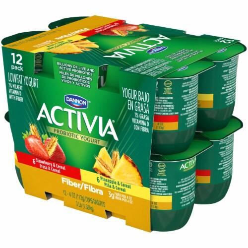 Dannon Activia Fiber Strawberry & Pineapple Yogurt 12 Count Perspective: right