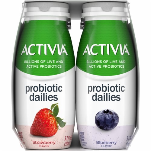 Dannon Activia Probiotic Dailies Strawberry & Blueberry Lowfat Yogurt Drink Perspective: right