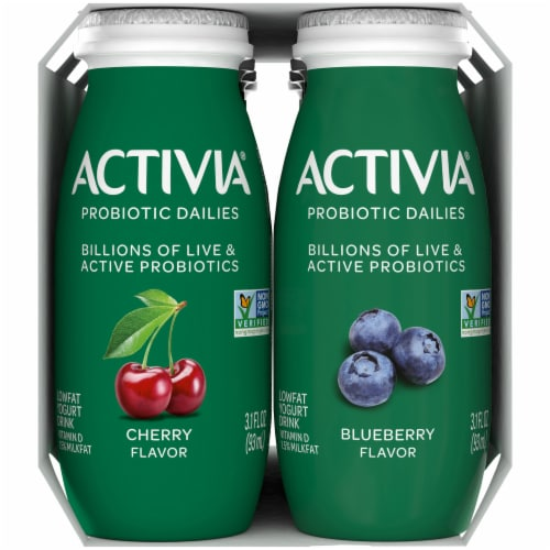 Activia Probiotic Dailies Cherry & Blueberry Lowfat Yogurt Drinks Perspective: right