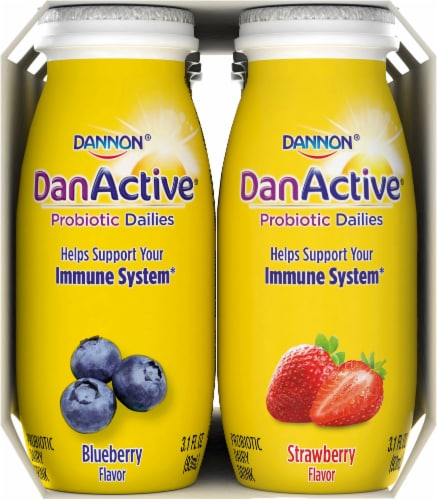 Dannon DanActive Strawberry & Blueberry Probiotic Daily Yogurt Drinks Perspective: right