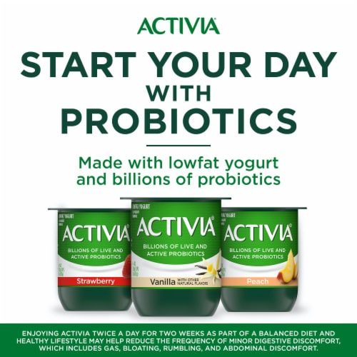 Activia Blended Strawberry & Peach Lowfat Probiotic Yogurt Perspective: right